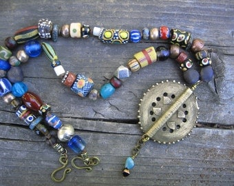 TRADE BEAD PENDANT necklace leather cord bright bold necklace