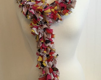 Fabric Sassy Hand Knitted Ruffled Scarf Abstract Multi