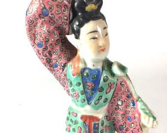 Signed Wei Hongchun Famille Rose Taoist Porcelain Figure of He Xiangu Chinese Immortal God Goddess Statue Figurine 魏洪春造