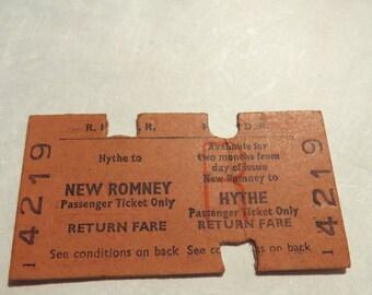 Vintage Romney,Hythe and Dymchurch Railroad Fare Ticket