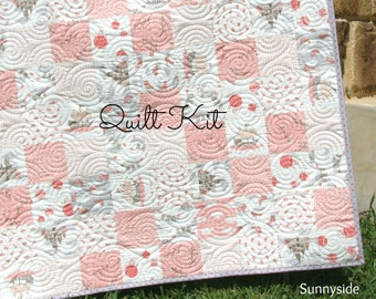 Storybook Quilt Kit, Baby Girl Blanket, Moda by Kate and Birdie, Cheater Panel, Quick Simple Easy Beginner, Backing Binding Top, DIY