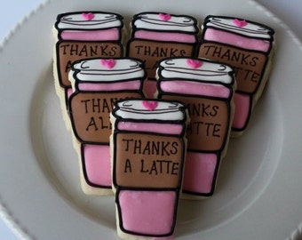 Thanks a latte, Thank You Cookie, sugar cookies, thank you cookies, cookies, thank you gift, coffee gifts, coffee lovers gift, teacher gift