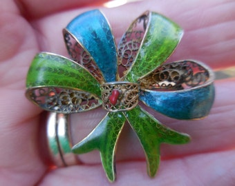 Vintage 1930s to 1940s Sterling Silver Filigree Bow Pin/Brooch Enamel Lime Green/Blue/Red Stamped 800