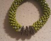 Green Mix Bead Crochet Roll on Bracelet