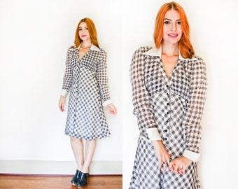 Vintage 1970s Dress - Gingham Black & White Smocked Day Dress I.Magnin 70s - Medium