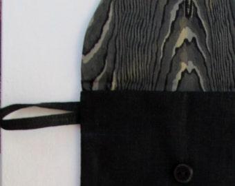 Polished Black Linen Envelope Organizer / Vintage Look /  Linen Gift Set/ Travel Bag