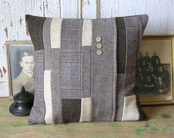 Wool Tweed Pillow Cover - Recycled Brown, Oatmeal Wool, Wool 14 Inch - FREE SHIPPING