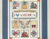 1980s Sunset Stamped Cross Stitch Kit 13032 I Love America Designed by Ann Craig UnOpened Patriotic Stamped Cross Stitch Sampler