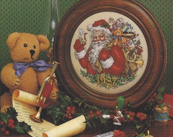 80s Cross Stitch & Country Crafts Magazine Nov Dec 1987 Counted Cross Stitch Santa Plate and Ornaments