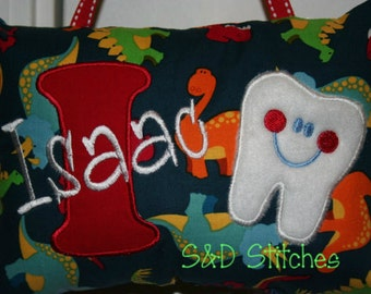 Tooth Fairy Pillow Personalized Dinosaurs - Birthday Gift for kids - Christmas Gift - Tooth Chart - Tooth Fairy - Animals - First Birthday