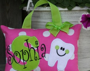 Tooth Fairy Pillow for Girls Personalized Boutique Custom Made Polka Dots- Christmas Gift - Birthday Gift - Baby Gift - Valentine's - Easter