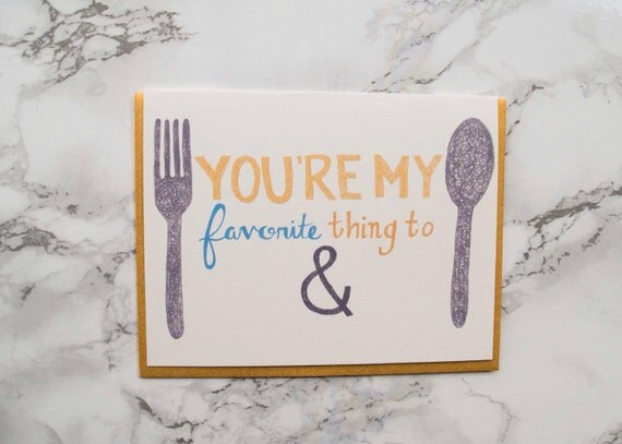 "Funny Adult Anniversary Card. Valentine's Day Card ""You're My Favorite Thing to Fork and Spoon"" Eco Friendly Card. 100% Cotton Paper."