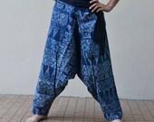 Indigo Aladdin Pants Trousers Hippie Boho Harem Ninja Pants Elephant Thai Art Print Navy Blue PAC-2