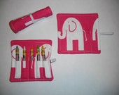 Pink Elephants Birthday Party Favors, Crayon Roll Up, Pink Elephants