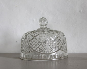 Vintage French Glass Dome, Glass Cloche, Cheese Dome, Pressed Glass, Cut Glass, Food Cover