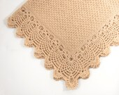 Knitted Baby Blanket with Crocheted Edging - Beige