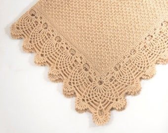Knitted Baby Blanket with Crocheted Edging, Beige, Lacy Crochet baby Blanket, Lap Blanket, Mohair Blanket, Shower Gift, New Mom Gift