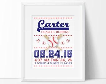 baseball nursery art, personalized baby boy, birth stats wall art, PRINTABLE nursery, Baseball decor, sports nursery art, boys room decor