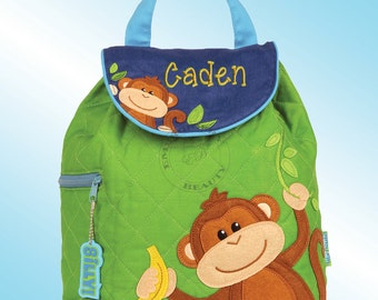 Quilted Backpack - Personalized and Embroidered - MONKEY