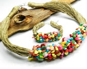 Nature linen set with colorful stones. Rainbow colors. Natural necklace and bracelet