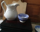 Ironstone tea waste bowl in blue and white transferware