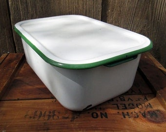 Vintage Enamelware Refrigerator Pan with Lid , white with green trim