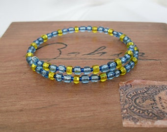 Blue and Yellow Beaded Memory Wire Bracelet