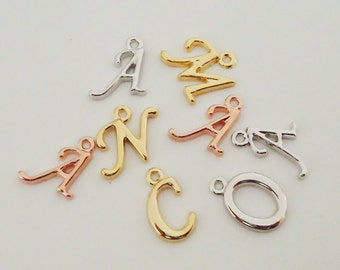 "G-17. 2 pcs, Cursive Initial Charm , Capital letter,  Alphabet ""N""~""Z"" Pendant - choose your letter and color"