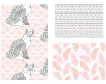 Design Your Own -Tribal Watercolors fox in Grey with Blush Pink, Coral and Blush Feathers, Grey Aztec // Custom Nusery Bedding and Decor