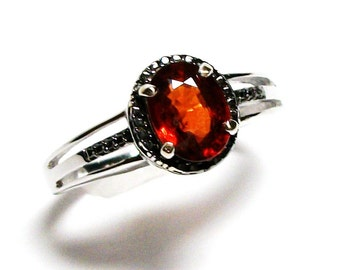 "Spessartite garnet, black diamond ring, garnet wedding ring, red black, birthstone ring, engagement ring  s 8  ""Joy Ride"""