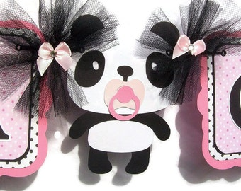 Panda baby shower, panda banner, panda decorations, pink and black decorations, it's a girl banner, photo prop, baby shower banner