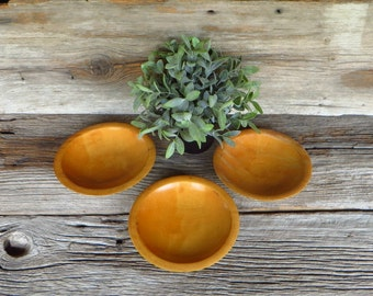3 Munsing Wooden Bowls Small Solid Wood Bowls Farmhouse Kitchen Rustic Kitchen Decor 1950s Munsing Michigan