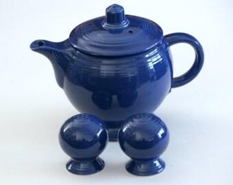 Fiestaware Teapot Shakers, Original Fiesta Teapot, Cobalt Medium Teapot, Vintage Fiesta Ware Salt Pepper