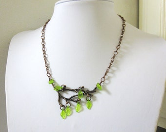 Tree Branch Necklace Copper Branches Green Leaf Jewelry