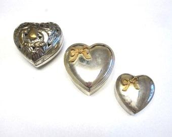 Silver Jewelry Box Trinket Set of Three