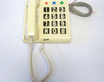 Rare AT & T Large Pushbutton Telephone Ivory Desktop ATT Push Button Phone