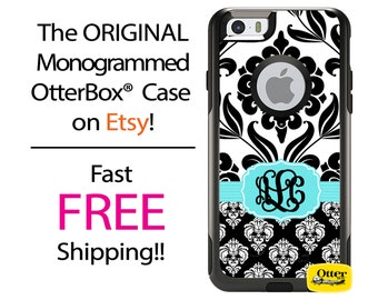 iPhone OtterBox Commuter Case for iPhone 7, 7 Plus, 6/6s, 6 Plus/6s Plus, 5/5s/SE, 5c Galaxy S7 S6 S5 Note 5 Monogrammed Double Damask Case