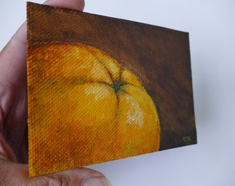 Small oil painting, orange, citrus fruit, canvas panel, original art by Ilse Hviid, Tiny still life, mini painting, fruit art, original oil
