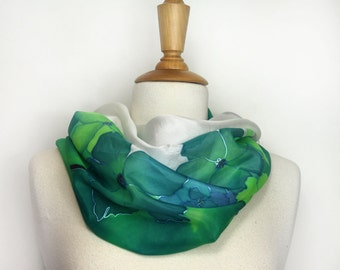 Silk scarf. Hand painted silk scarf. Green floral silk scarf. Wearable art. Special womans gift. Hand painted in France. Silk art.