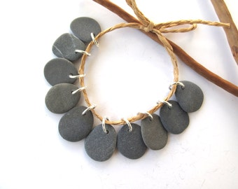 Rock Beads Small Mediterranean Natural Stone River Stone Jewelry Supplies Pairs MISTY GREY CHARMS 17-18 mm