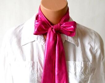 Metallic Hot Pink Scarf Women's Neck Tie Lightweight Layering Fashion Accessories Summer Scarf Hot Pink Neck Bow