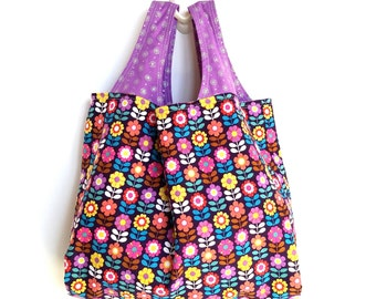 Fabric Tote Bag, Reversible and Reusable, Retro Flowers, Purple