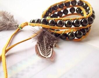leather bracelet boho girl wrap leather bracelet beaded bracelet biker bracelet handmade bracelet gypsy girl women leather