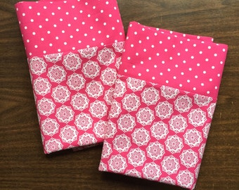 Beautiful pink and white Pillow Case  Set Standard/queen pink and white polka dot cuff