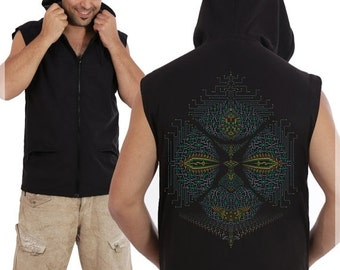 BURNING MAN SALE Psychedelic Mens Vest Black Hooded Hoodie Vest, Ayahuasca, Dmt, Trippy, Screen Print, Burning Man, Festival Clothing, Psy t