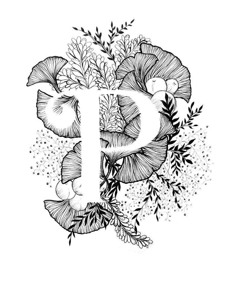 P Design: Letter P Print Alphabet Calligraphy Typography Monogram