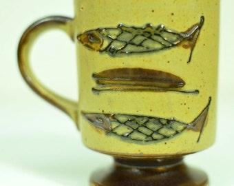 Midcentury Modern Style Fish Ceramic Coffee Mug Speckled Glazed Pedestal Cup