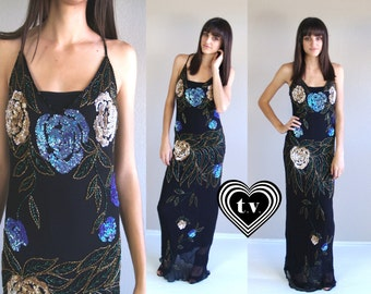 vtg 80s SEQUIN MAXI Trophy GOWN supermodel S maxi dress black silk Bias Cut party cocktail avant garde art nouveau roses statement nye