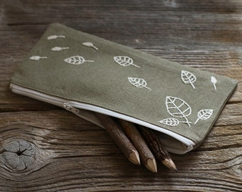 Khaki Pencil Case with Hand Embroidered Leaves in Natural White, Nature Inspired School Supplies, Cotton Pen Holder