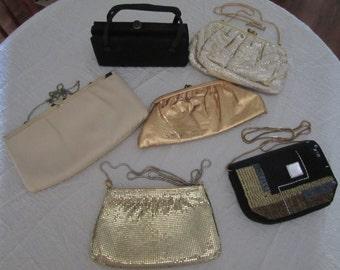 Vintage Handbag Purse Lot Evening Bags Clutch Bags Gold Tan Black Silver Cream Beaded